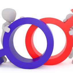 """Deux personnages, homme et femme stylisés, portent les symboles """"féminin"""" et """"masculin""""."""