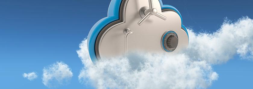 Coffre fort virtuel dans un nuage représentant un cloud sécurisé